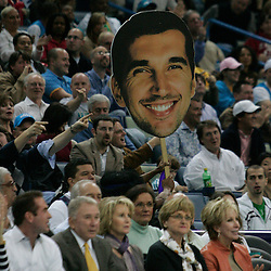 """28 January 2009:  A """"Peja Head"""" is carried through the crowd after New Orleans Hornets forward Peja Stojakovic (16) (not pictured) hit a three pointer during a 94-81 win by the New Orleans Hornets over the Denver Nuggets at the New Orleans Arena in New Orleans, LA. The Hornets wore special throwback uniforms of the former ABA franchise the New Orleans Buccaneers for the game as they honored the Bucs franchise as a part of the NBA's Hardwood Classics series. ."""
