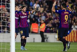 October 20, 2018 - Barcelona, Catalonia, Spain - Leo Messi of FC Barcelona celebrating his goal during the La Liga match between FC Barcelona v Sevilla FC at Camp Nou Stadium, in Barcelona on 20 of October, 2018. (Credit Image: © Xavier Bonilla/NurPhoto via ZUMA Press)
