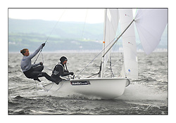 470 Class European Championships Largs - Day 1.Racing in grey and variable conditions on the Clyde..GBR0, Sophie WEGUELIN, Sophie AINSWORTH, Royal Lymington Yacht Club