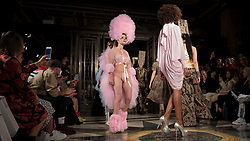 © Licensed to London News Pictures. 14/09/2018. LONDON, UK.  Ellie Rae Winstone, daughter of actor Ray Winstone, and models presenting looks by Pam Hogg during Fashion Scout SS19, an off schedule show at Freemasons Hall in Covent Garden, on the opening day of London Fashion Week.  Photo credit: Stephen Chung/LNP