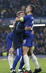 BRITAIN-LONDON-FOOTBALL-UEFA EUROPA LEAGUE-CHELSEA VS FRANKFURT.(190510) -- LONDON, May 10, 2019  Chelsea's Cesar Azpilicueta (R) celebrates after winning the penalty shoot of the UEFA Europa League semi-final second leg match between Chelsea and Frankfurt in London, Britain on May 9, 2019.  FOR EDITORIAL USE ONLY. NOT FOR SALE FOR MARKETING OR ADVERTISING CAMPAIGNS. NO USE WITH UNAUTHORIZED AUDIO, VIDEO, DATA, FIXTURE LISTS, CLUBLEAGUE LOGOS OR ''LIVE'' SERVICES. ONLINE IN-MATCH USE LIMITED TO 45 IMAGES, NO VIDEO EMULATION. NO USE IN BETTING, GAMES OR SINGLE CLUBLEAGUEPLAYER PUBLICATIONS. (Credit Image: © Xinhua via ZUMA Wire)