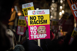 © Licensed to London News Pictures. 20/01/2017. London, UK. Demonstrators protest outside the US Embassy, London, on the day Donald Trump replaces Barack Obama to become President of the United States of America. Photo credit : Tom Nicholson/LNP