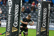 Olly Cracknell of the Ospreys on his way to scoring his teams 2nd try.  Guinness Pro12 rugby match, Ospreys v Connacht rugby at the Liberty Stadium in Swansea, South Wales on Saturday 7th January 2017.<br /> pic by Andrew Orchard, Andrew Orchard sports photography.