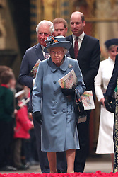 Queen Elizabeth II, the Prince of Wales the Duke of Cambridge and the Duke of Sussex leaving after the Commonwealth Service at Westminster Abbey, London on Commonwealth Day. The service is the Duke and Duchess of Sussex's final official engagement before they quit royal life.