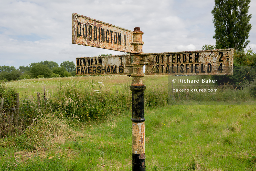 An old signpost pointing to local Kent villages on 7th July 2019, near Doddington, Kent, England