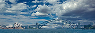 A view of the Sydney Bridge and Opera House.