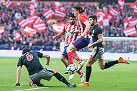 Atletico de Madrid Filipe Luis and Athletic Club San Jose during La Liga match between Atletico de Madrid and Athletic Club and Wanda Metropolitano in Madrid , Spain. February 18, 2018. (ALTERPHOTOS/Borja B.Hojas)
