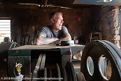 Denver Joe Hicks at a side of the road machine shop on day-4 of our Himalayan Heroes adventure riding from Pokhara to Kalopani, Nepal. Friday, November 9, 2018. Photography ©2018 Michael Lichter.