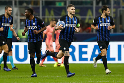 November 7, 2018 - Milan, Italy - Mauro Icardi (2nd R) of Inter Milan celebrates his goal with teammates during the Group B match of the UEFA Champions League between FC Internazionale and FC Barcelona on November 6, 2018 at San Siro Stadium in Milan, Italy. (Credit Image: © Mike Kireev/NurPhoto via ZUMA Press)