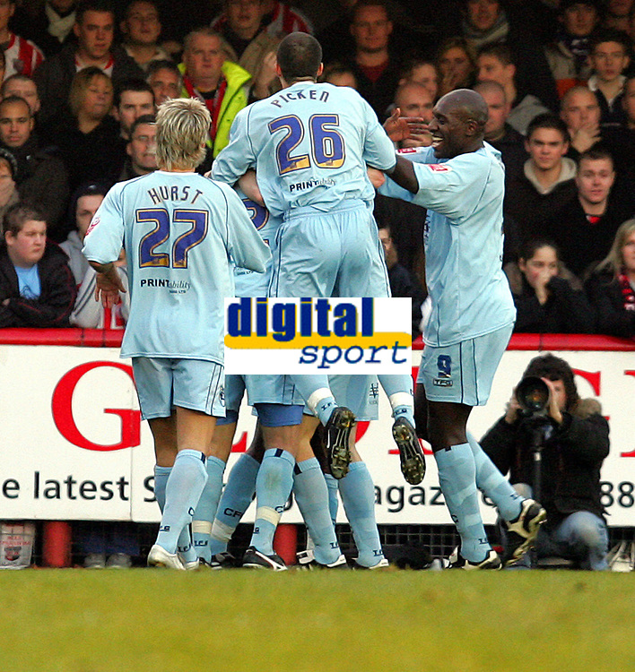 Photo: Frances Leader.<br />Brentford v Chesterfield. Coca Cola League 1. <br />10/12/2005.<br />Chesterfield's Paul Hall celebrates his goal of the first half.