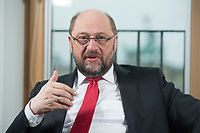22 FEB 2016, BERLIN/GERMANY:<br /> Martin Schulz, SPD, Praesident des Europaeischen Parlamentes, waehrend einem Interview, Spiegel Hauptstadtbuero<br /> IMAGE: 20160222-01-022