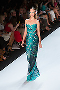 Floor-length strapless dress in a marine-inspired print. By Monique Lhuillier at Spring 2013 Fall Fashion Week in New York.