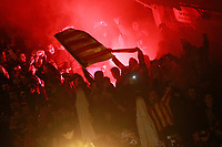 Valencia CF's supporters receive the team bus before the Spanish King's Cup Semi Final 2nd match. February 8,2018. (ALTERPHOTOS/Acero)