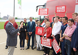 Labour IN campaign bus visits the Queen Elizabeth Olympic Park Stratford, London with Alan Johnson MP chair of the Labour in for Britain campaign to set out what impact leaving the European Union would have on the UK tourism sector.<br />  <br /> 29th May 2016 <br /> <br /> Alan Johnson <br /> <br /> with Lee Shinkin - Judo Bronze medalist in Commonwealth Games<br /> <br /> Stephen Timms MP <br /> East Ham <br /> <br /> Iain McNicol <br /> General Secretary of the Labour Party <br /> <br /> and party activists <br /> <br /> Photograph by Elliott Franks <br /> Image licensed to Elliott Franks Photography Services