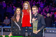 The 19.com World Snooker Scottish Open Champion 2019 Mark Selby, alongside his partner Vikki & his daughter Sofia with the Stephen Hendry Trophy following his win at the World Snooker 19.com Scottish Open Final Mark Selby vs Jack Lisowski at the Emirates Arena, Glasgow, Scotland on 15 December 2019.