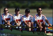 Sydney. AUSTRALIA. 2000 Summer Olympic Regatta, Penrith. NSW.  <br /> <br /> GER M4X. Bow. GEISLER, Marco, 2. HAJEK, Andreas, 3. VOLKERT, Stephan,  Stroke, WILLMS, Andre<br /> <br /> [Mandatory Credit Peter SPURRIER/ Intersport Images] Sydney International Regatta Centre (SIRC) 2000 Olympic Rowing Regatta00085138.tif