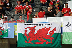 """LILLE, FRANCE - Friday, July 1, 2016: Wales supporters banner """"Mountain Ash"""" in the stands ahead of the UEFA Euro 2016 Championship Quarter-Final match against Belgium at the Stade Pierre Mauroy. (Pic by Paul Greenwood/Propaganda)"""
