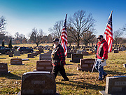 22 NOVEMBER 2019 - DES MOINES, IOWA: Members of the Patriot Guard Riders file out of Glendale Cemetery after the reinterment of Marine Corps Reserve Private Channing Whitaker at the Glendale Cemetery. Whitaker died in the Battle of Tarawa on Nov. 22, 1943 during World War Two. He was buried on Betio Island, in the Gilbert Islands, and his remains were recovered in March 2019. He was identified by a DNA match with surviving family members in Iowa. Whitaker was reintered in the Glendale Cemetery in Des Moines exactly 76 years after his death in World War Two. About 1,000 US Marines and sailers were killed in four days during the Battle of Tarawa.            PHOTO BY JACK KURTZ
