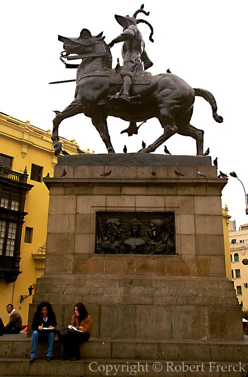 PERU, LIMA, COLONIAL the statue of Francisco Pizarro