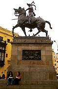 PERU, LIMA, COLONIAL the statue of Francisco Pizarro