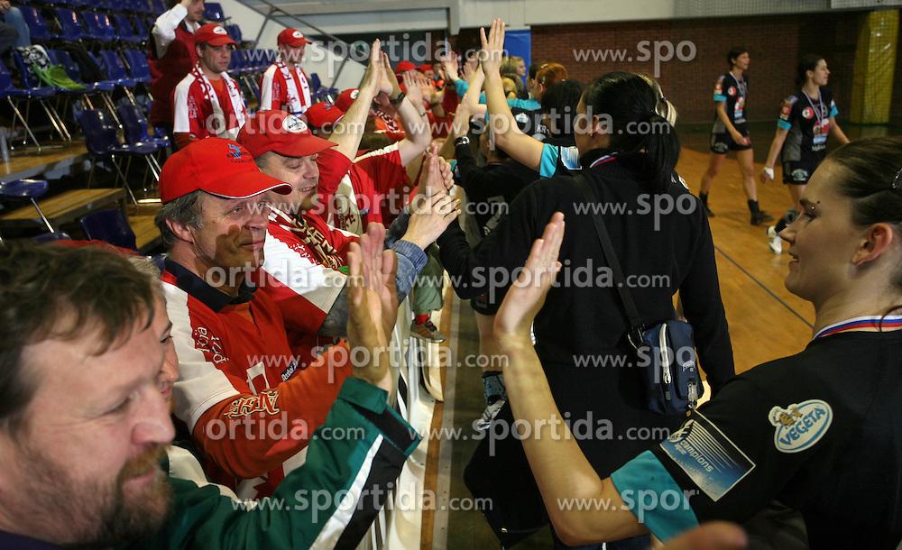 Fans of Krim and Urska Oven at handball game ZRK Celje Celjske Mesnine vs RK Krim Mercator in final match of Slovenian Handball Cup,  on April 6, 2008 in Arena Golovec, Celje, Slovenia. Krim won the game 31:21 and became Cup Winner.  (Photo by Vid Ponikvar / Sportal Images)