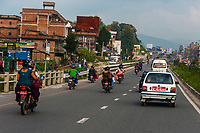 Road from Kathmandu to Bhaktapur, Nepal.