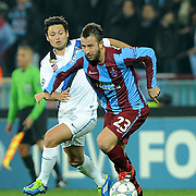 Trabzonspor's Remzi Giray KACAR (R) during their UEFA Champions League group stage matchday 5 soccer match Trabzonspor between Inter at the Avni Aker Stadium at Trabzon Turkey on Tuesday, 22 November 2011. Photo by TURKPIX