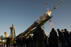 October 16, 2016 - Baikonur, Kazakhstan - The Russian Soyuz MS-02 spacecraft is raised into launch position at the Baikonur Cosmodrome in preparation for its Expedition 49 launch to the International Space Station October 16, 2016 in Baikonur, Kazakhstan. American astronaut Shane Kimbrough, Russian cosmonauts Sergey Ryzhikov and Andrey Borisenko are scheduled to launch aboard the spacecraft on October 19. (Credit Image: © Joel Kowsky/Planet Pix via ZUMA Wire)
