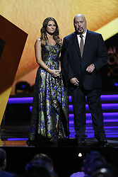 LOS ANGELES, CA - JULY 15: Irina Baeva and El Perro Bermudez present and ward at Univision Deportes' Balon De Oro 2017 Awards at The Orpheum Theatre in Los Angeles, California on July 15, 2017 in Los Angeles, California. Byline, credit, TV usage, web usage or linkback must read SILVEXPHOTO.COM. Failure to byline correctly will incur double the agreed fee. Tel: +1 714 504 6870.
