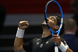 September 23, 2017 - Saint Petersburg, Russia - Fabio Fognini of Italy celebrates his victory over Roberto Bautista of Spain in the St. Petersburg Open ATP tennis tournament semi-final match in St. Petersburg. (Credit Image: © Igor Russak/NurPhoto via ZUMA Press)