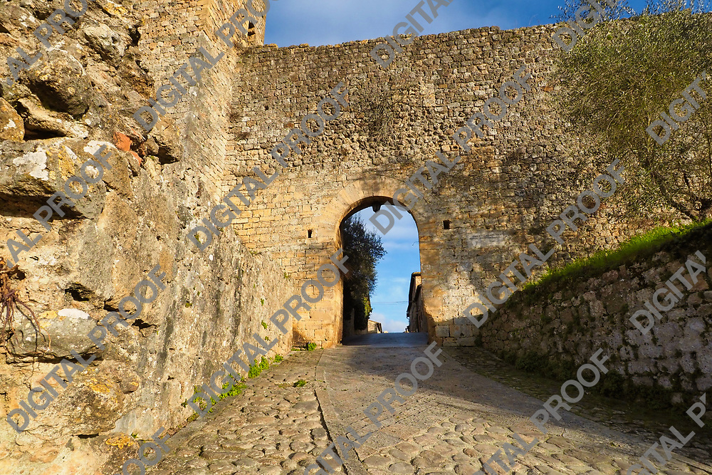 View of Porta Fiorentina of Monteriggione (north gate) during an afternoon in Tuscany Valley Italy