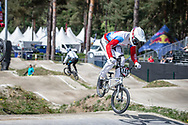 #145 (MALYSHENKOV Pavel) RUS during practice at Round 5 of the 2018 UCI BMX Superscross World Cup in Zolder, Belgium