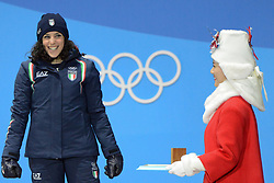 February 15, 2018 - Pyeongchang, South Korea - FREDERICA BRIGNONE of Italy celebrates getting the bronze medal for the Ladies' Giant Slalom event in the PyeongChang Olympic games. (Credit Image: © Christopher Levy via ZUMA Wire)