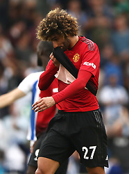 Manchester United's Marouane Fellaini appears dejected after the final whistle
