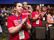 10 AUGUST 2019 - DES MOINES, IOWA: People applaud at the gun sense forum. Several thousand people from as far away as Milwaukee, WI, and Chicago, came to Des Moines Saturday for the Presidential Gun Sense Forum. Most of the Democratic candidates for president attended the event, which was organized by Moms Demand Action, Every Town for Gun Safety, and Students Demand Action.          PHOTO BY JACK KURTZ