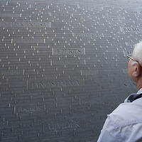 Man visits the newly inaugurated Memorial of Unity that is decorated with names of Hungarian towns (many of them belonging to neighbouring countries since the Treaty of Trianon) engraved onto the walls on the national holiday celebrating the foundation of the Hungarian State in Budapest, Hungary  on Aug. 20, 2020. ATTILA VOLGYI