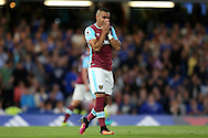 Dimitri Payet of West Ham United reacts aftermissing a chance to score. Premier league match, Chelsea v West Ham United at Stamford Bridge in London on Monday 15th August 2016.<br /> pic by John Patrick Fletcher, Andrew Orchard sports photography.