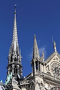 Detail of the spires on Notre Dame, Paris