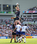 USA Al McFarland wins the ball at the line out during the Rugby World Cup 2015 match between Samoa and USA at the Brighton Community Stadium, Falmer, United Kingdom on 20 September 2015.