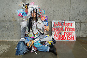 Extinction Rebellion, Central London, October 7th 2019, part of world wide protests to draw attention to the climate emergency. Lili dressed in rubbish.