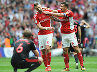 Football - 2018 / 2019 EFL Sky Bet League One Play-Off Final - Sunderland vs. Charlton<br /> <br /> Jason Pearce (6) jokes with a stunned winning goalscorer, Patrick Bauer at the final whistle, at Wembley Stadium.<br /> <br /> COLORSPORT/ANDREW COWIE