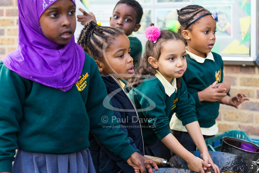 DAILY EXPRESS: Children at the Kender Primary School in Lewisham, London, enjoy outdoor play. London, October 31 2018.