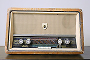 Cutout of a retro Hi-Fi Minerphon radio receiver on white background