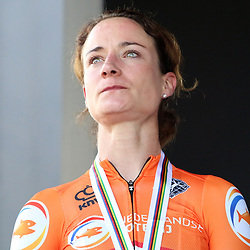 """LEUVEN (BEL): CYCLING: September 25th<br /> Marianne Vos finished second at the World Championships on the road for the fifth time in her career behind an Italian on Saturday. After the finish, this caused tears for the rider from Brabant: """"When you are so close, it is very sour."""""""