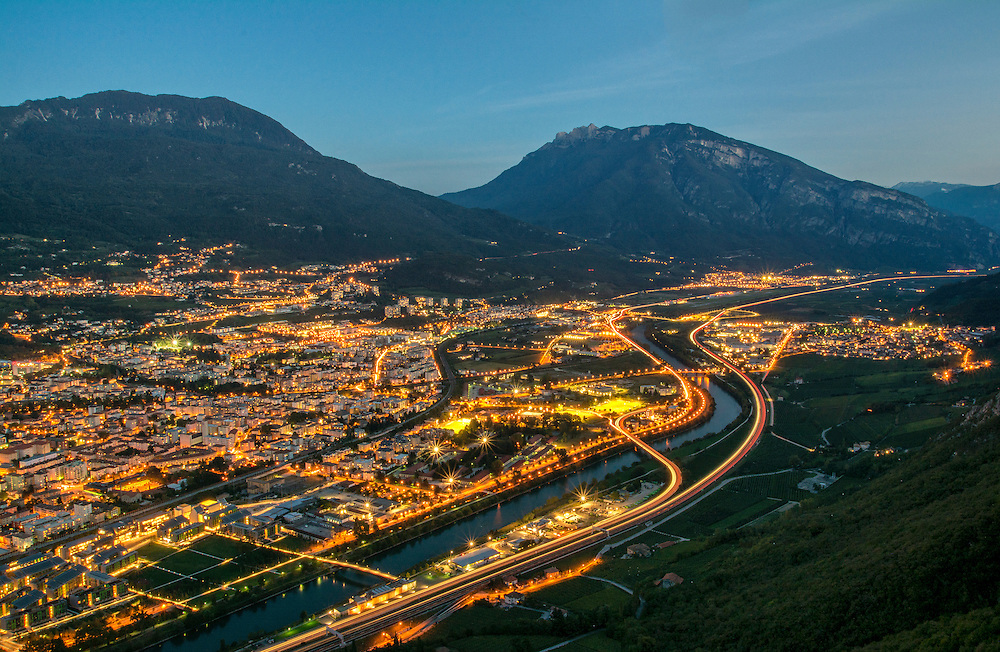 The city of Trento just as the sun has set.