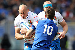 March 16, 2019 - Rome, RM, Italy - Sergio Parisse of Italy and Romain Ntamack of France fight for the ball during the Six Nations International Rugby Union match between Italy and France at Stadio Olimpico on March 16, 2019 in Rome, Italy. (Credit Image: © Danilo Di Giovanni/NurPhoto via ZUMA Press)