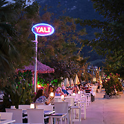 Restaurants in Turunc resort village in the evening, Turkey