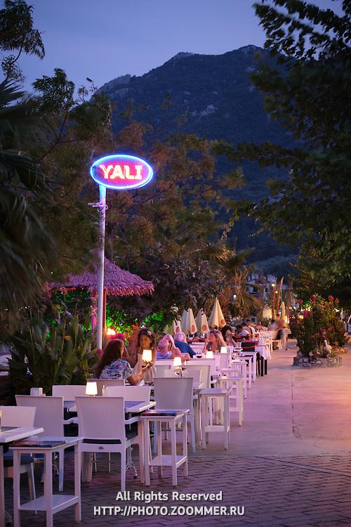 Restaurants in Turunc resort village in the evening, Turkey