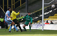 Photo:  Frances Leader.<br /> Watford v Coventry City. Coca Cola Championship. <br /> Vicarage Road Stadium<br /> 05/03/2005<br /> Watford's captain Bruce Dyer scores his equalising goal against Coventry.