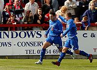 Photo: Paul Greenwood.<br />Accrington Stanley v Macclesfield Town. Coca Cola League 2. 28/04/2007.<br />Macclesfield's John Miles (L) celebrates scoring his goal with Alan Navarro